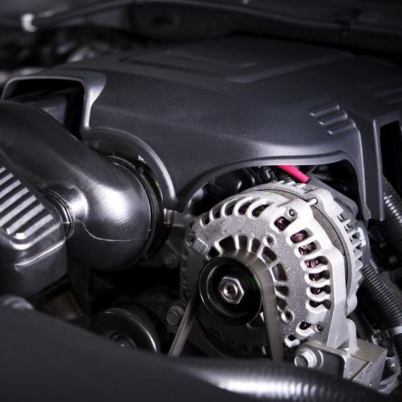 close up of engine and alternator