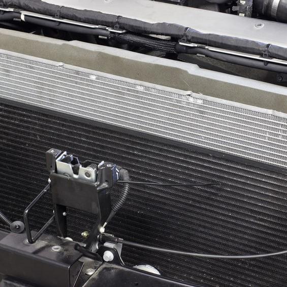 close up on engine radiator